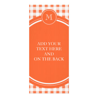 Orange and White Gingham Your Monogram Rack Card Template