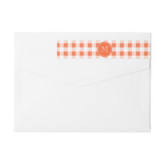 orange and White Gingham, Your Monogram Wraparound Return Address Label