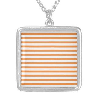 Orange and White Horizontal Stripe Personalized Necklace