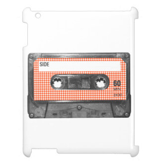 Orange and White Houndstooth Label Cassette iPad Cover