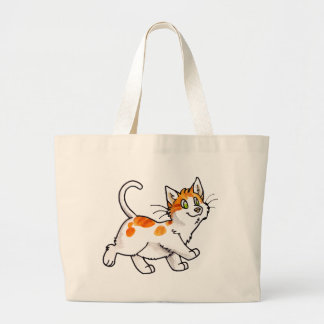 Orange and White Kitty Tote Bags