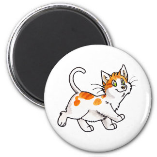 Orange and White Kitty 6 Cm Round Magnet