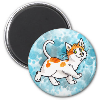 Orange and White Kitty Magnets