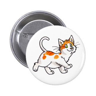 Orange and White Kitty Pinback Buttons