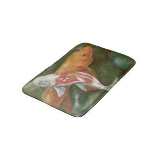 Orange and White Koi with Mossy Stones Pastel Art Bath Mat
