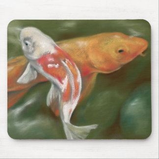 Orange and White Koi with Mossy Stones Pastel Art Mouse Pad