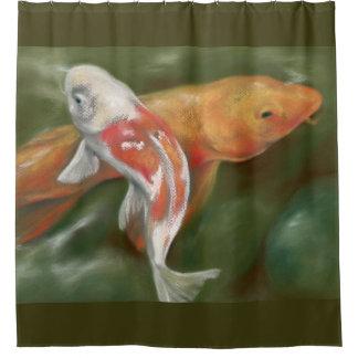 Orange and White Koi with Mossy Stones Pastel Art Shower Curtain