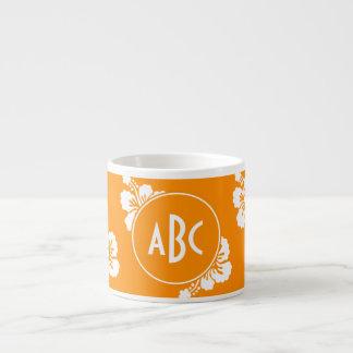 Orange and White Monogrammed Floral Pattern Espresso Mug