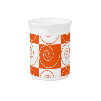 Orange and White Mouse Tails Beverage Pitcher