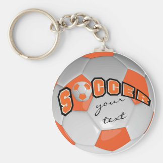 Orange and White Personalize Soccer Ball Key Ring