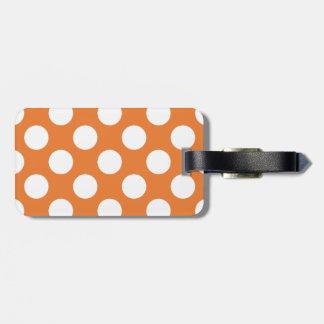 Orange and White Polka Dots Bag Tags