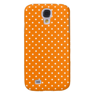Orange and White Polka Dots Galaxy S4 Case