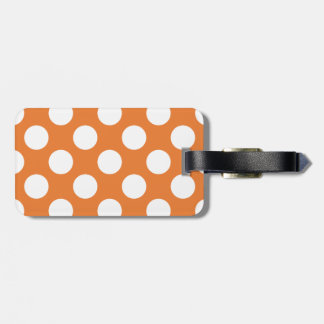 Orange and White Polka Dots Luggage Tag