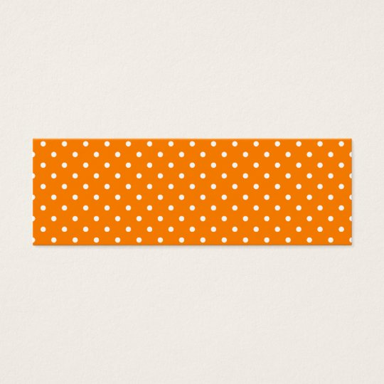 Orange and White Polka Dots Mini Business Card