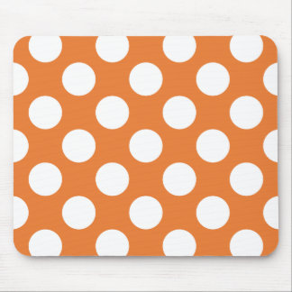 Orange and White Polka Dots Mouse Pad