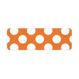 Orange and White Polka Dots Return Address Label