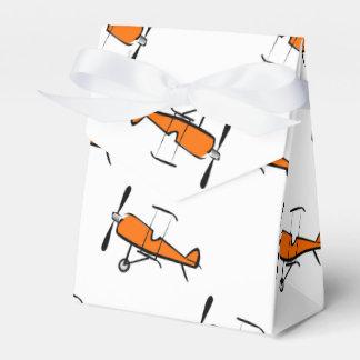 Orange and White Prop Biplane; Small Plane Favour Box