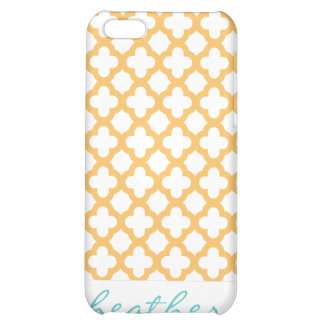 Orange and White Quatrefoil Pattern Cover For iPhone 5C