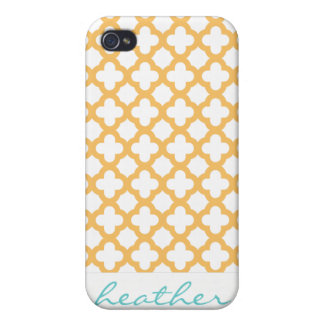 Orange and White Quatrefoil Pattern iPhone 4 Covers