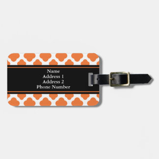 Orange and White Quatrefoil Pattern Luggage Tag