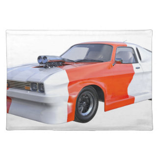 Orange and White Racing Car Placemat
