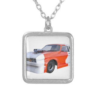 Orange and White Racing Car Silver Plated Necklace