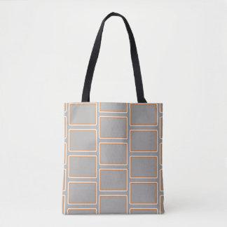 Orange and White Rectangles Geometric Pattern 1 Tote Bag
