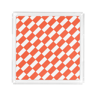 Orange And White Rectangles Retro Pattern Acrylic Tray