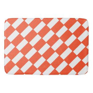 Orange And White Rectangles Retro Pattern Bath Mat