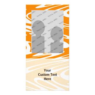 Orange and White Retro Pattern. Customized Photo Card