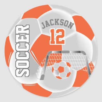 Orange and White Soccer Ball Classic Round Sticker