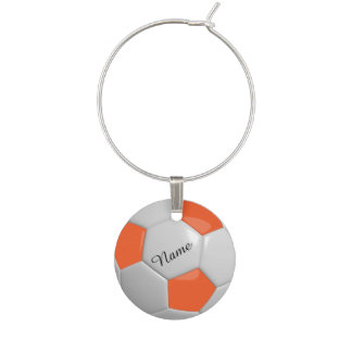 Orange and White Soccer Ball | Personalize Wine Charm