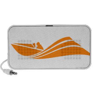 Orange and White Speed Boat Travel Speakers