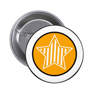 Orange and White Star Button