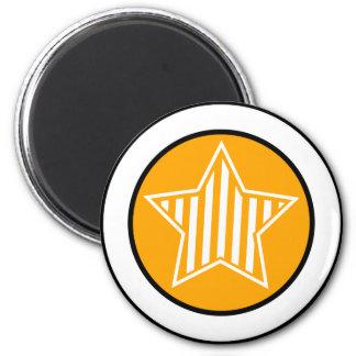 Orange and White Star Round Magnet