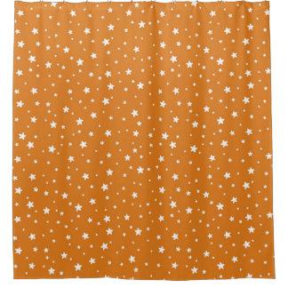 Orange and White Stars Celestial Sky Shower Curtain