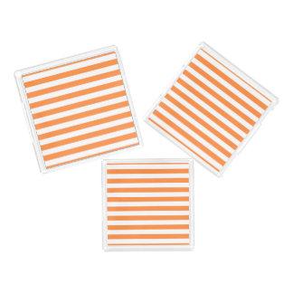Orange and White Stripe Pattern Acrylic Tray