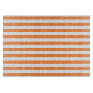 Orange and White Stripe Pattern Cutting Board