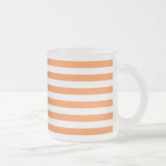 Orange and White Stripe Pattern Frosted Glass Coffee Mug