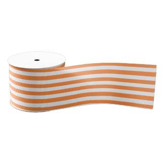 Orange and White Stripe Pattern Grosgrain Ribbon