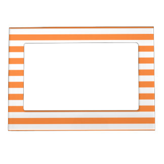 Orange and White Stripe Pattern Magnetic Picture Frame
