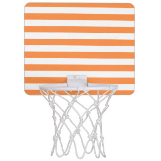 Orange and White Stripe Pattern Mini Basketball Hoop