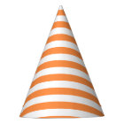 Orange and White Stripe Pattern Party Hat