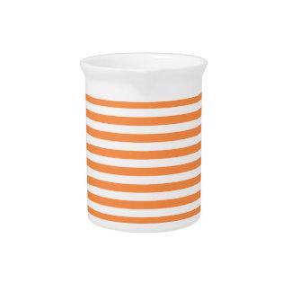 Orange and White Stripe Pattern Pitcher