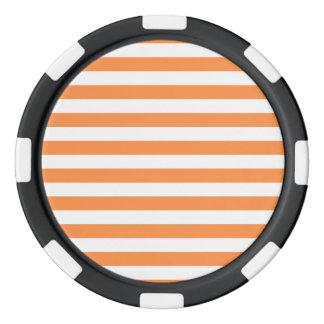 Orange and White Stripe Pattern Poker Chips