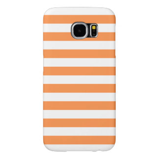 Orange and White Stripe Pattern Samsung Galaxy S6 Cases