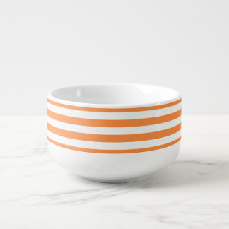 Orange and White Stripe Pattern Soup Mug