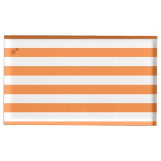 Orange and White Stripe Pattern Table Card Holder
