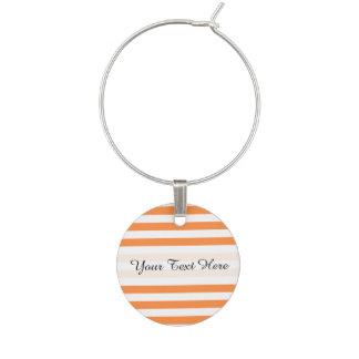 Orange and White Stripe Pattern Wine Charm
