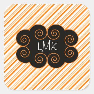 Orange and White Striped Monogramming Tag